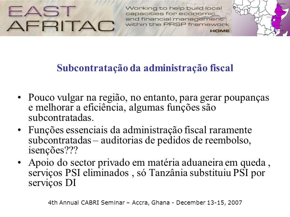 4th Annual CABRI Seminar – Accra, Ghana - December 13-15, 2007 Subcontratação da administração fiscal Pouco vulgar na região, no entanto, para gerar p