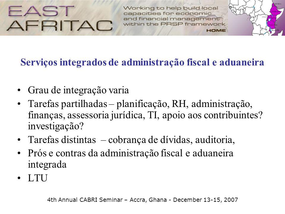 4th Annual CABRI Seminar – Accra, Ghana - December 13-15, 2007 Serviços integrados de administração fiscal e aduaneira Grau de integração varia Tarefa
