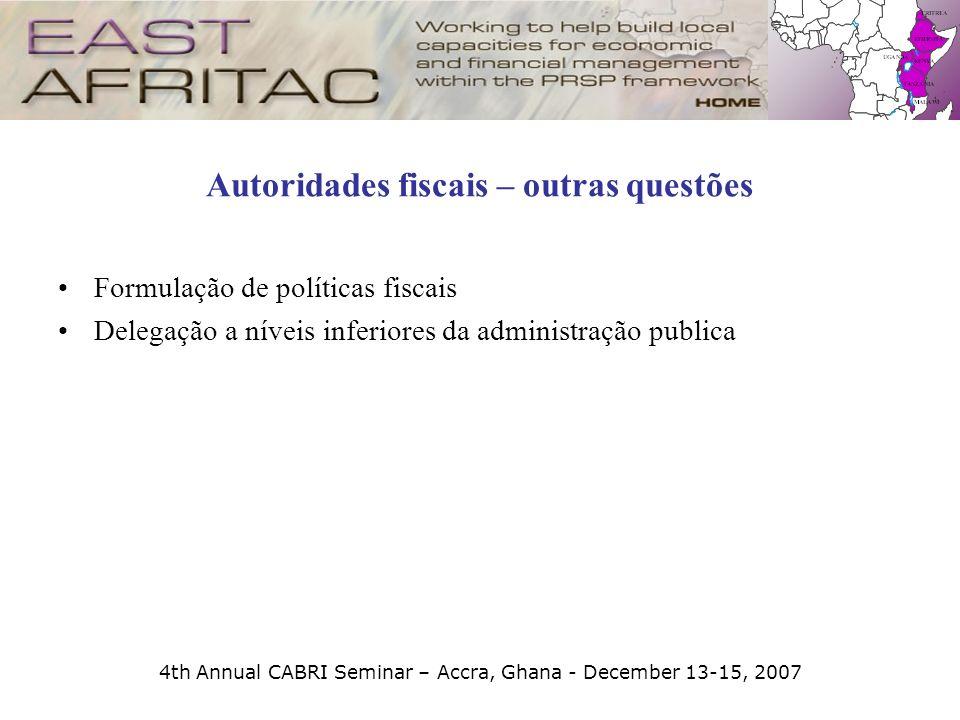 4th Annual CABRI Seminar – Accra, Ghana - December 13-15, 2007 Autoridades fiscais – outras questões Formulação de políticas fiscais Delegação a nívei