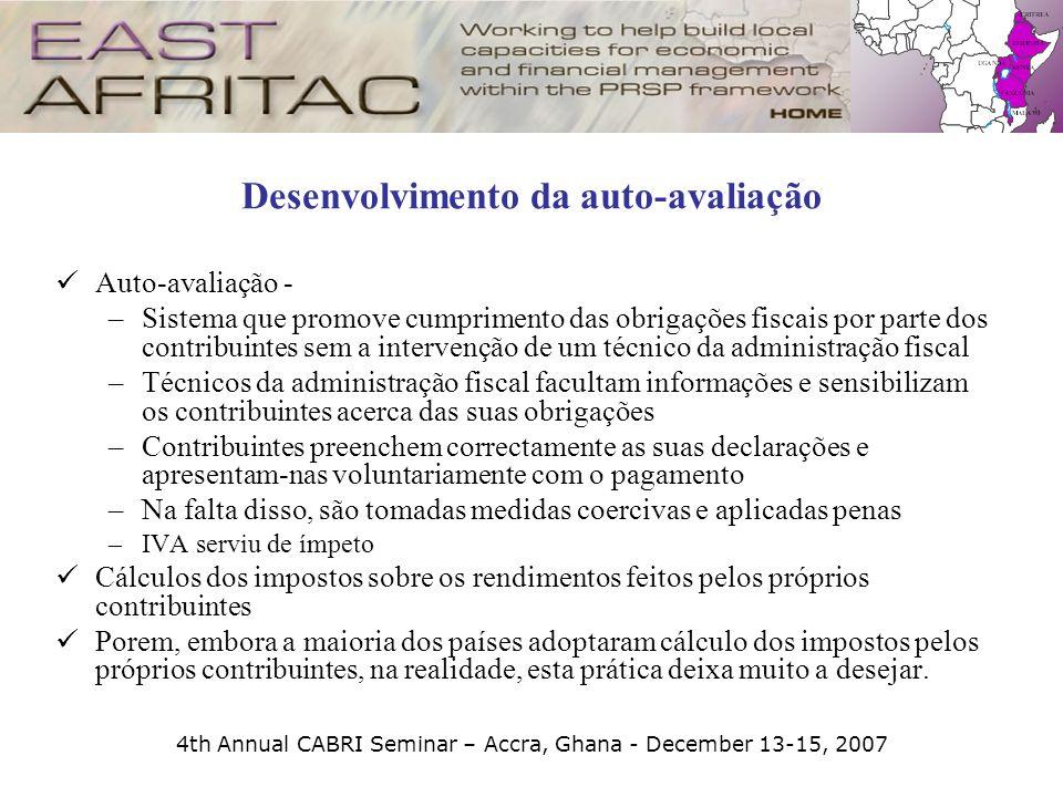 4th Annual CABRI Seminar – Accra, Ghana - December 13-15, 2007 Desenvolvimento da auto-avaliação Auto-avaliação - –Sistema que promove cumprimento das