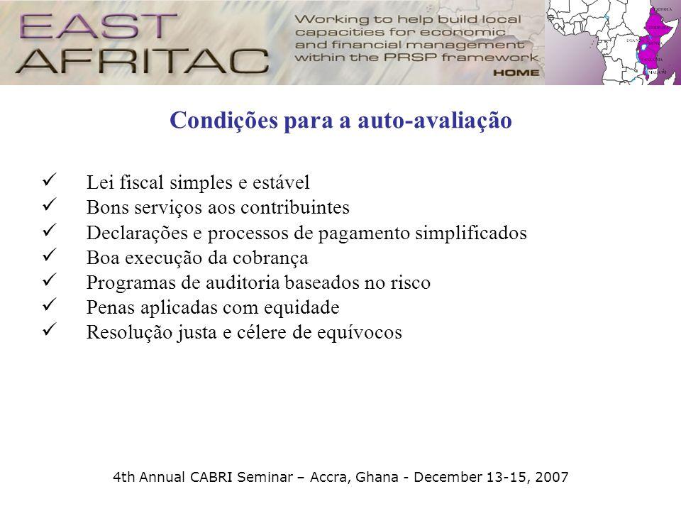 4th Annual CABRI Seminar – Accra, Ghana - December 13-15, 2007 Condições para a auto-avaliação Lei fiscal simples e estável Bons serviços aos contribu
