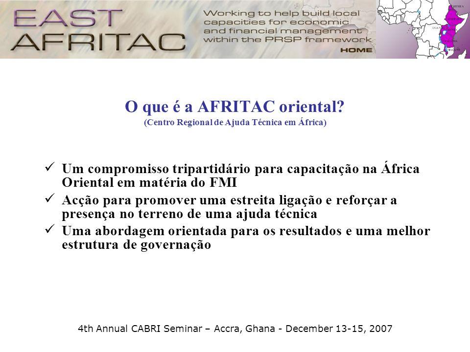 4th Annual CABRI Seminar – Accra, Ghana - December 13-15, 2007 O que é a AFRITAC oriental? (Centro Regional de Ajuda Técnica em África) Um compromisso