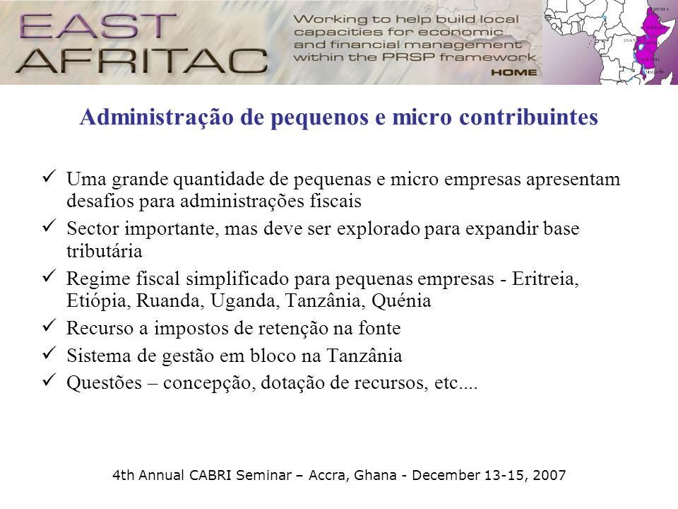 4th Annual CABRI Seminar – Accra, Ghana - December 13-15, 2007 Administração de pequenos e micro contribuintes Uma grande quantidade de pequenas e mic
