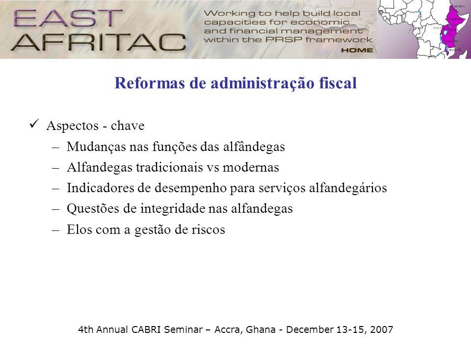 4th Annual CABRI Seminar – Accra, Ghana - December 13-15, 2007 Reformas de administração fiscal Aspectos - chave –Mudanças nas funções das alfândegas