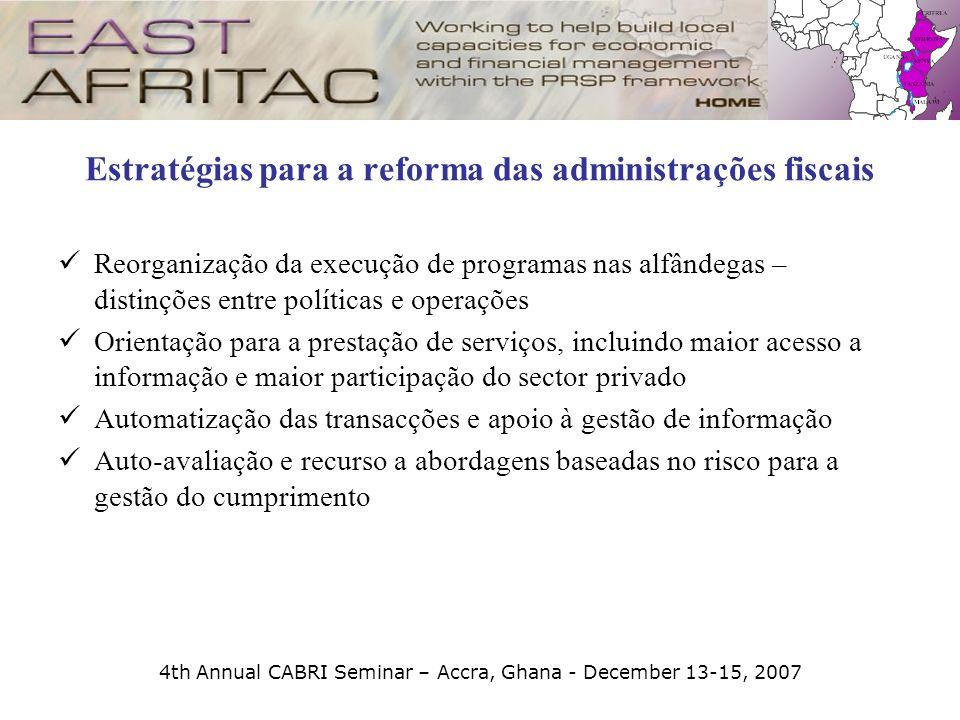 4th Annual CABRI Seminar – Accra, Ghana - December 13-15, 2007 Estratégias para a reforma das administrações fiscais Reorganização da execução de prog