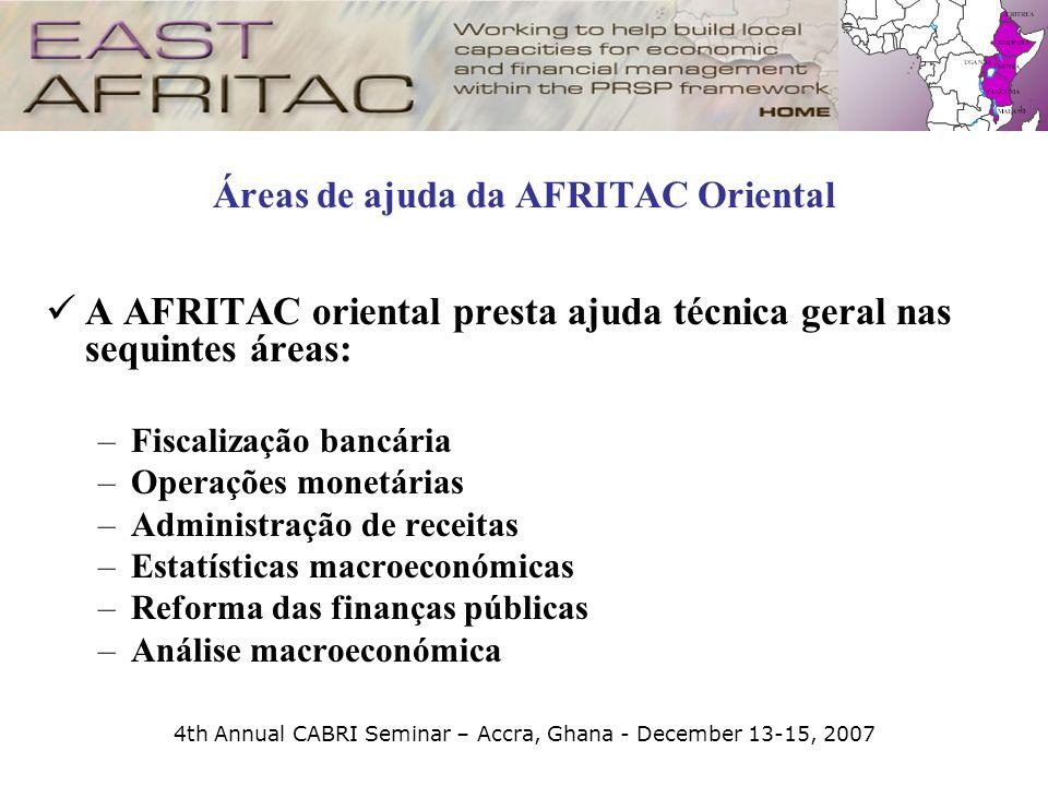 4th Annual CABRI Seminar – Accra, Ghana - December 13-15, 2007 Áreas de ajuda da AFRITAC Oriental A AFRITAC oriental presta ajuda técnica geral nas se