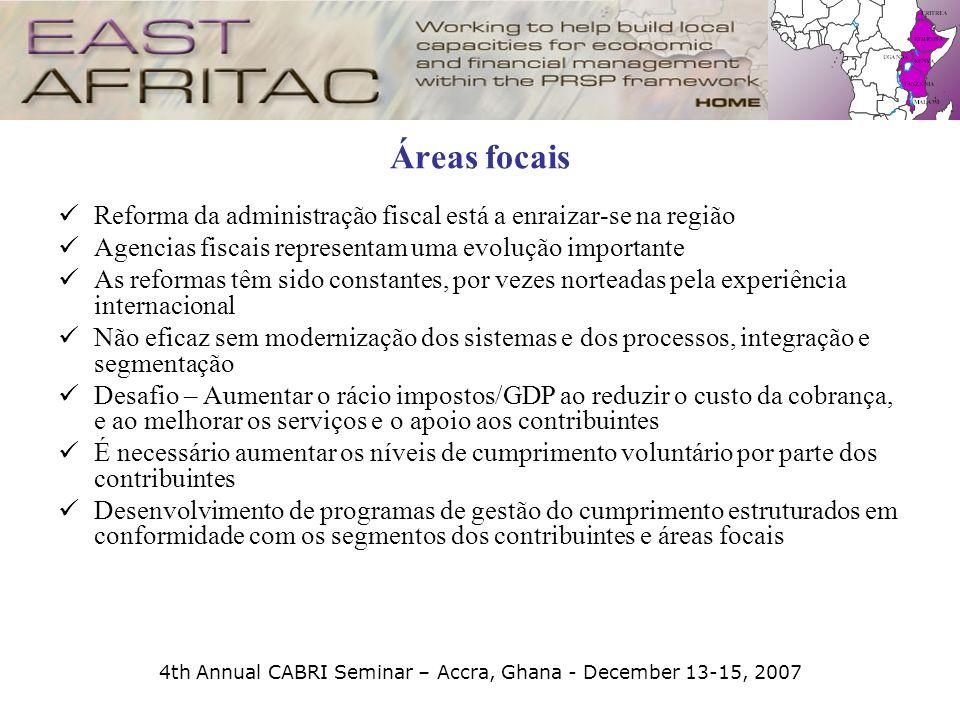 4th Annual CABRI Seminar – Accra, Ghana - December 13-15, 2007 Áreas focais Reforma da administração fiscal está a enraizar-se na região Agencias fisc