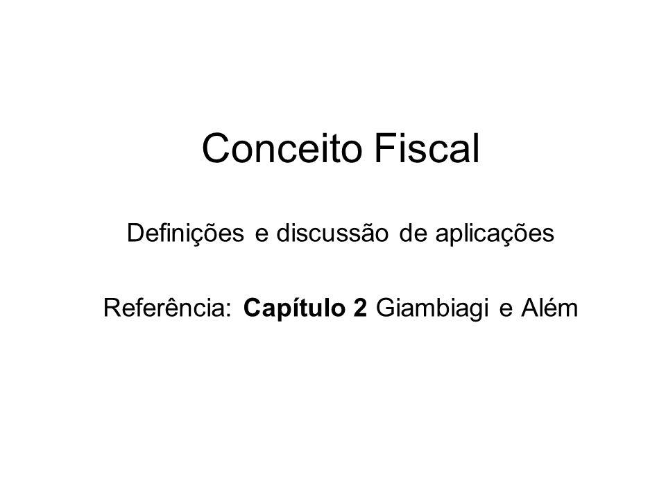 Conceito Fiscal Definições e discussão de aplicações Referência: Capítulo 2 Giambiagi e Além