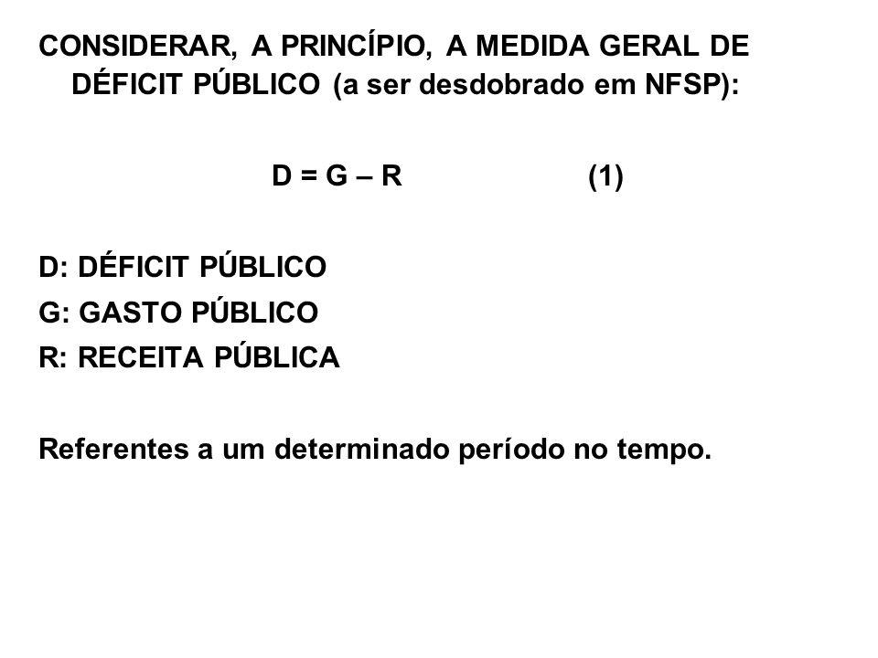 CONSIDERAR, A PRINCÍPIO, A MEDIDA GERAL DE DÉFICIT PÚBLICO (a ser desdobrado em NFSP): D = G – R (1) D: DÉFICIT PÚBLICO G: GASTO PÚBLICO R: RECEITA PÚ