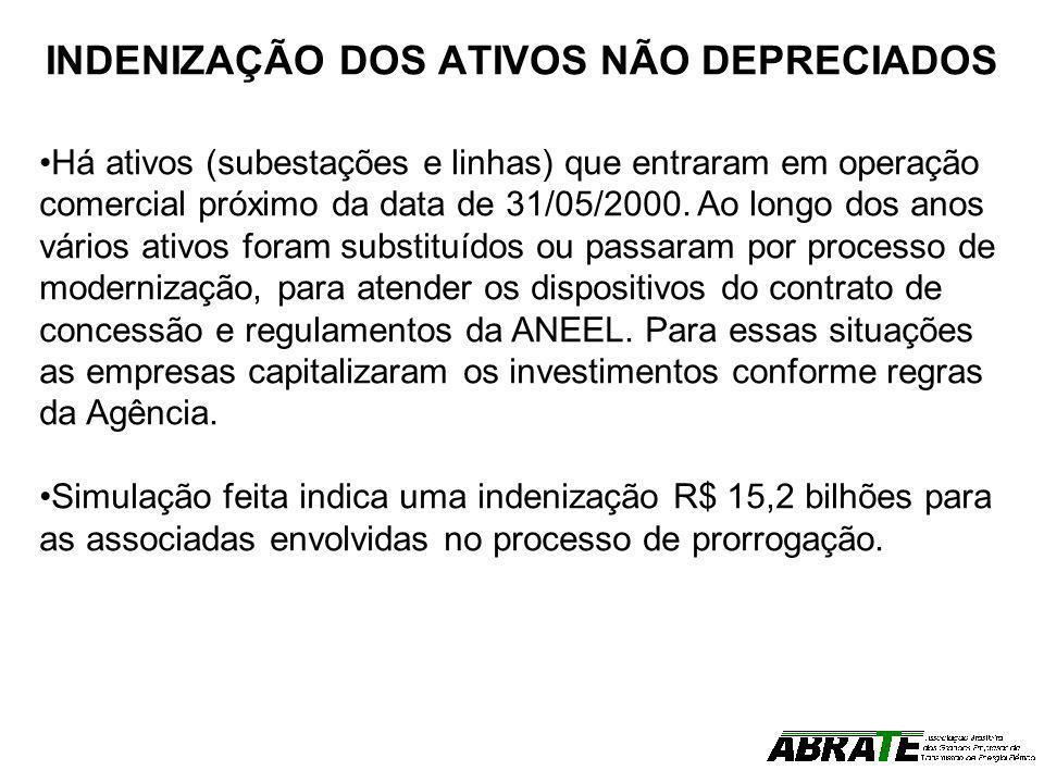 INDENIZAÇÃO DOS ATIVOS NÃO DEPRECIADOS Há ativos (subestações e linhas) que entraram em operação comercial próximo da data de 31/05/2000. Ao longo dos