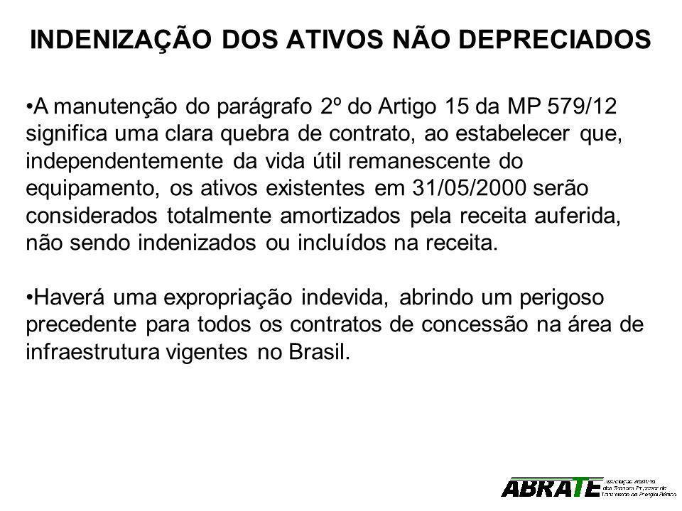INDENIZAÇÃO DOS ATIVOS NÃO DEPRECIADOS A manutenção do parágrafo 2º do Artigo 15 da MP 579/12 significa uma clara quebra de contrato, ao estabelecer q