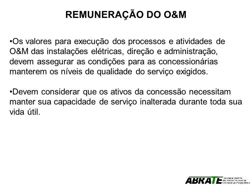 REMUNERAÇÃO DO O&M Os valores para execução dos processos e atividades de O&M das instalações elétricas, direção e administração, devem assegurar as c