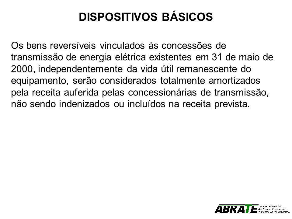 DISPOSITIVOS BÁSICOS Os bens reversíveis vinculados às concessões de transmissão de energia elétrica existentes em 31 de maio de 2000, independentemen