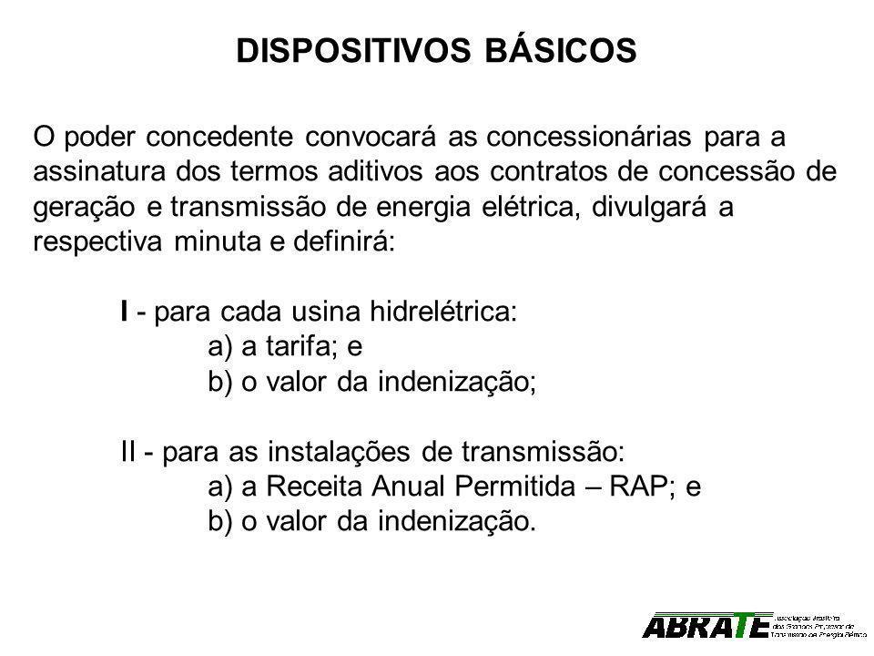 DISPOSITIVOS BÁSICOS O poder concedente convocará as concessionárias para a assinatura dos termos aditivos aos contratos de concessão de geração e tra