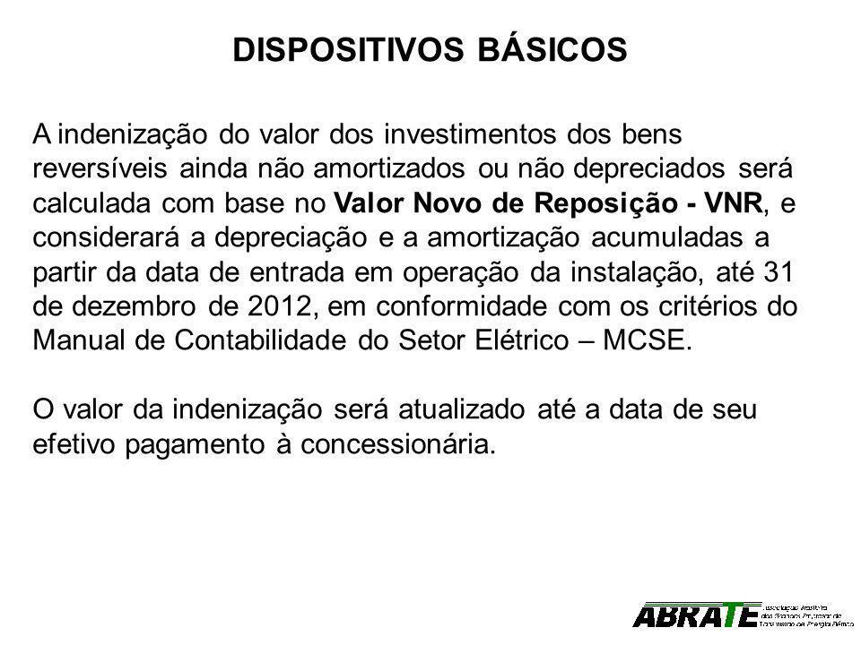 DISPOSITIVOS BÁSICOS A indenização do valor dos investimentos dos bens reversíveis ainda não amortizados ou não depreciados será calculada com base no