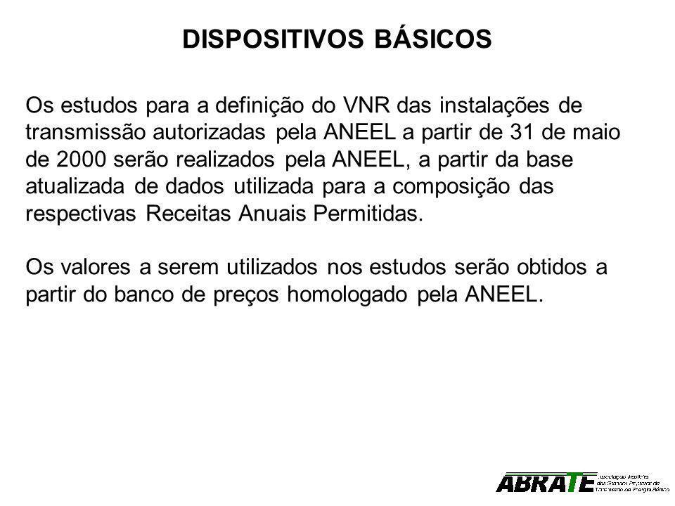 DISPOSITIVOS BÁSICOS Os estudos para a definição do VNR das instalações de transmissão autorizadas pela ANEEL a partir de 31 de maio de 2000 serão rea