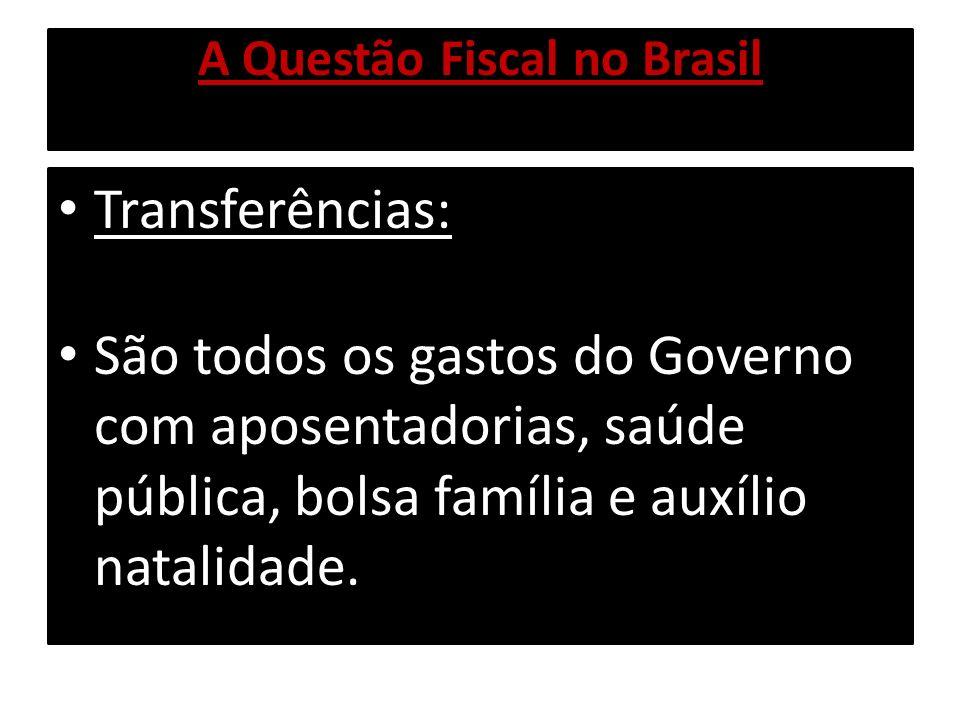 A Questão Fiscal no Brasil Juros da Dívida Pública: Refere-se ao custo financeiro do carregamento da Dívida Pública, de R$ 1,3 trilhão.