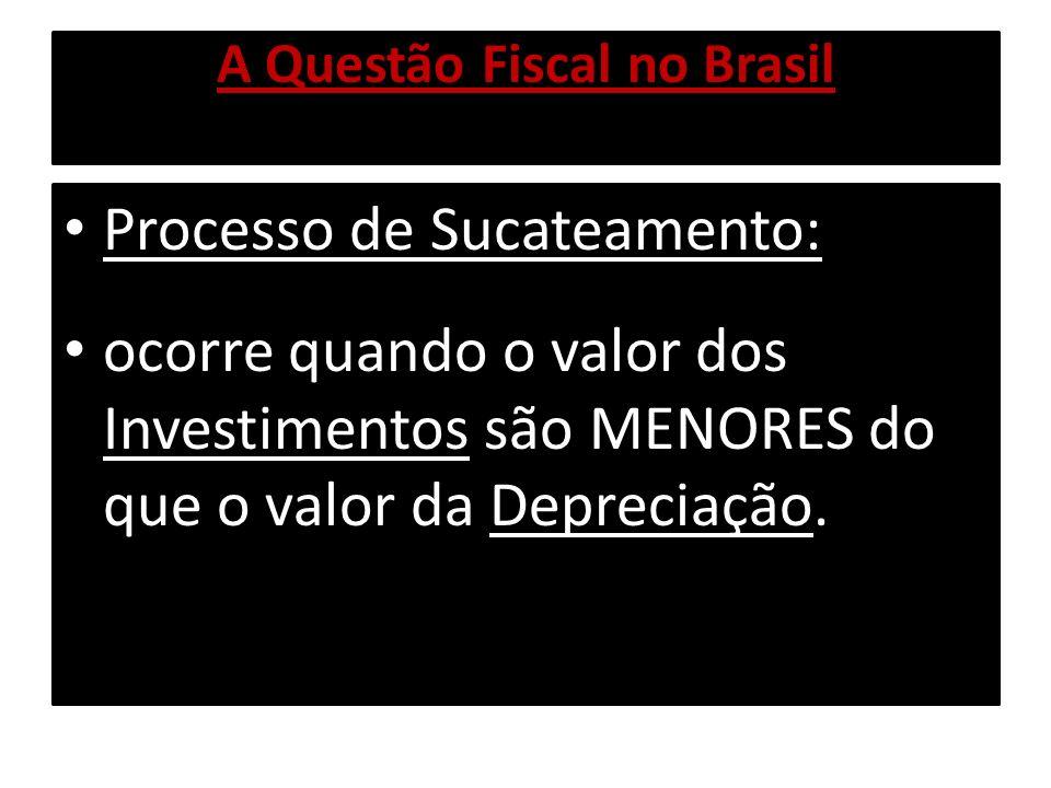 A Questão Fiscal no Brasil Processo de Sucateamento: ocorre quando o valor dos Investimentos são MENORES do que o valor da Depreciação.