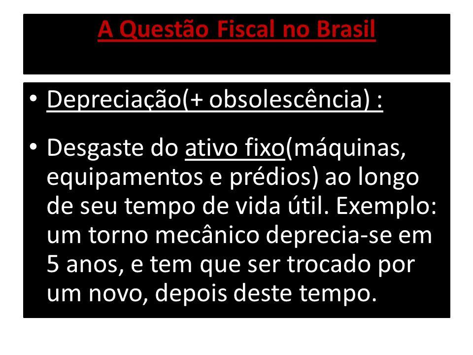 A Questão Fiscal no Brasil Pois bem, como veremos adiante, o Valor total das Receitas do Governo é MENOR que o valor total das Despesas do Governo:o Governo apresenta portanto, Déficit Fiscal Nominal