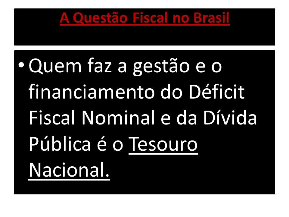 A Questão Fiscal no Brasil Identificado o Déficit Fiscal Nominal, o Tesouro Nacional emite Títulos de Crédito, através do Banco Central, que age como Agente do Tesouro Nacional junto ao mercado financeiro.