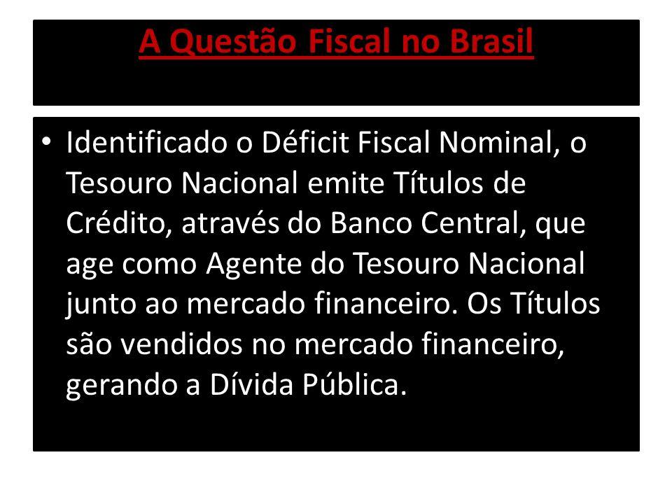 A Questão Fiscal no Brasil Identificado o Déficit Fiscal Nominal, o Tesouro Nacional emite Títulos de Crédito, através do Banco Central, que age como