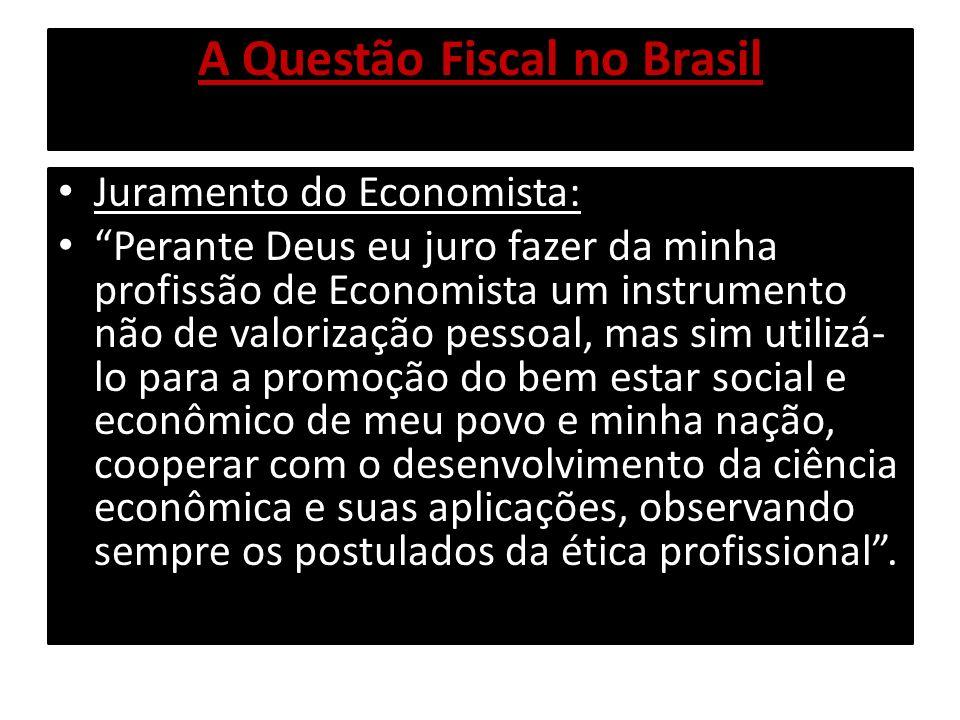 A Questão Fiscal no Brasil Juramento do Economista: Perante Deus eu juro fazer da minha profissão de Economista um instrumento não de valorização pess