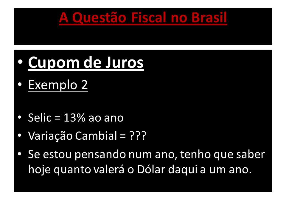 A Questão Fiscal no Brasil Cupom de Juros Exemplo 2 Podemos utilizar o Cambio Futuro Cambio Futuro é uma operação de Derivativo: Bem simplificadamente, o Cambio Futuro age virtualmente: compro Dólar, com dinheiro emprestado.