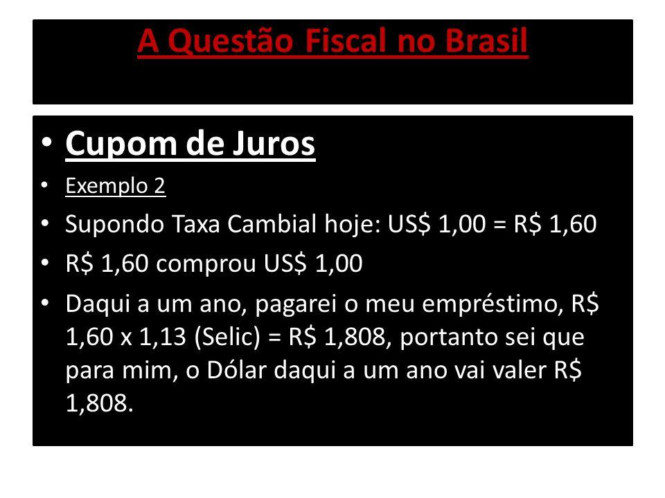 A Questão Fiscal no Brasil Cupom de Juros Exemplo 2 Se não houver base para se estimar a variação cambial de mercado, o Cupom será a própria Selic: Variação Cambial + 13% ao ano(Prime+risco país +spread).