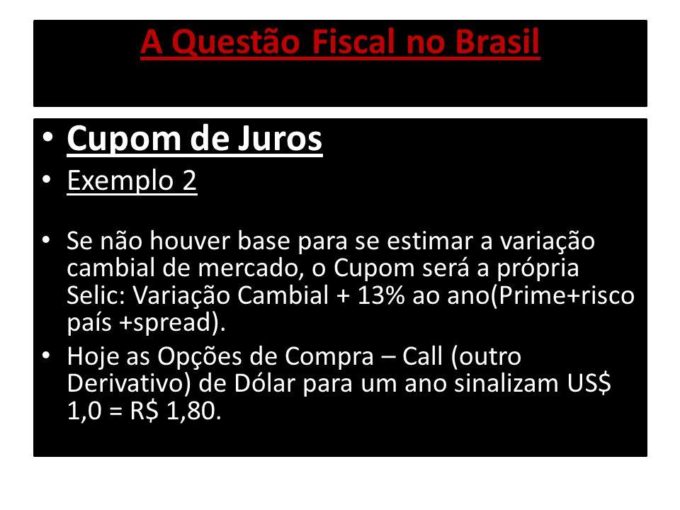 A Questão Fiscal no Brasil Cupom de Juros Exemplo 2 Se não houver base para se estimar a variação cambial de mercado, o Cupom será a própria Selic: Va
