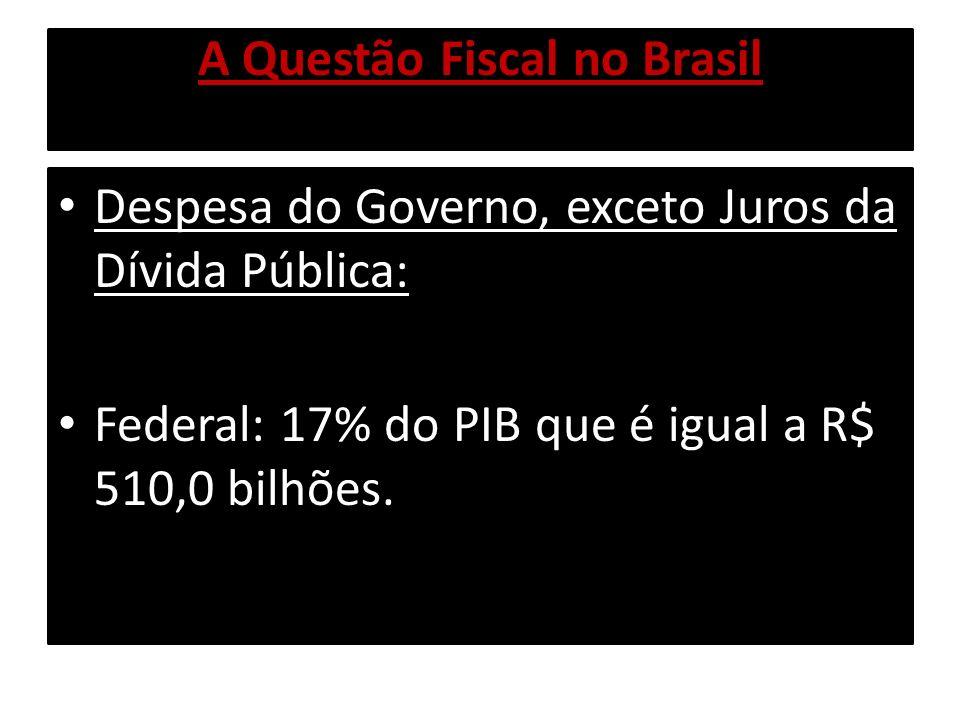 A Questão Fiscal no Brasil Despesa do Governo, exceto Juros da Dívida Pública: Federal: 17% do PIB que é igual a R$ 510,0 bilhões.