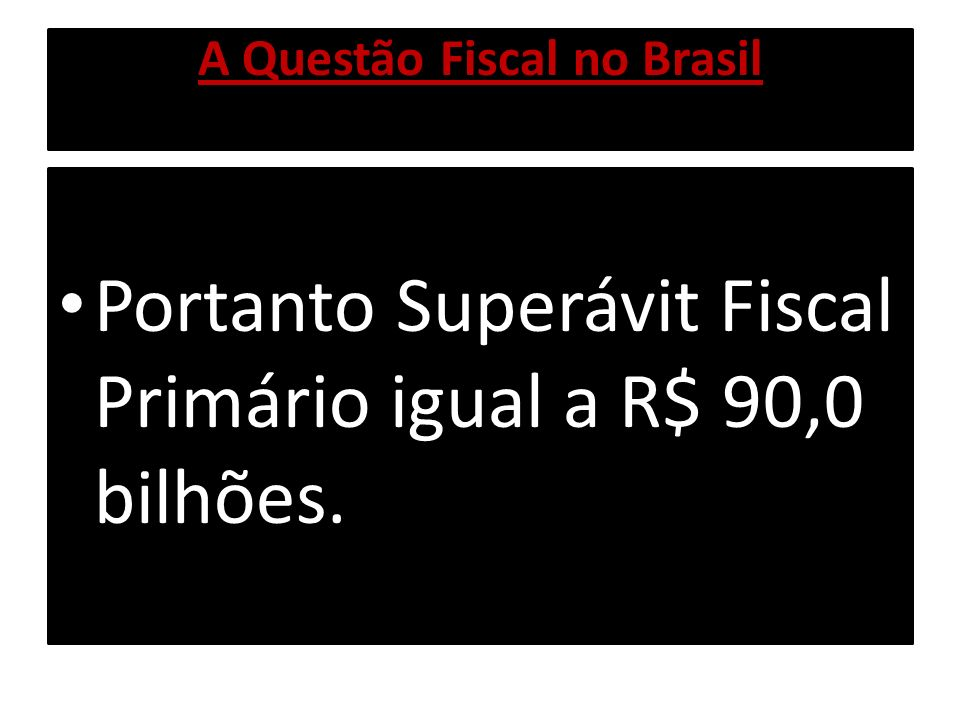 A Questão Fiscal no Brasil Juros da Dívida Pública igual a R$ 170,0 bilhões, se considerarmos o custo médio de carregamento da Dívida Pública.