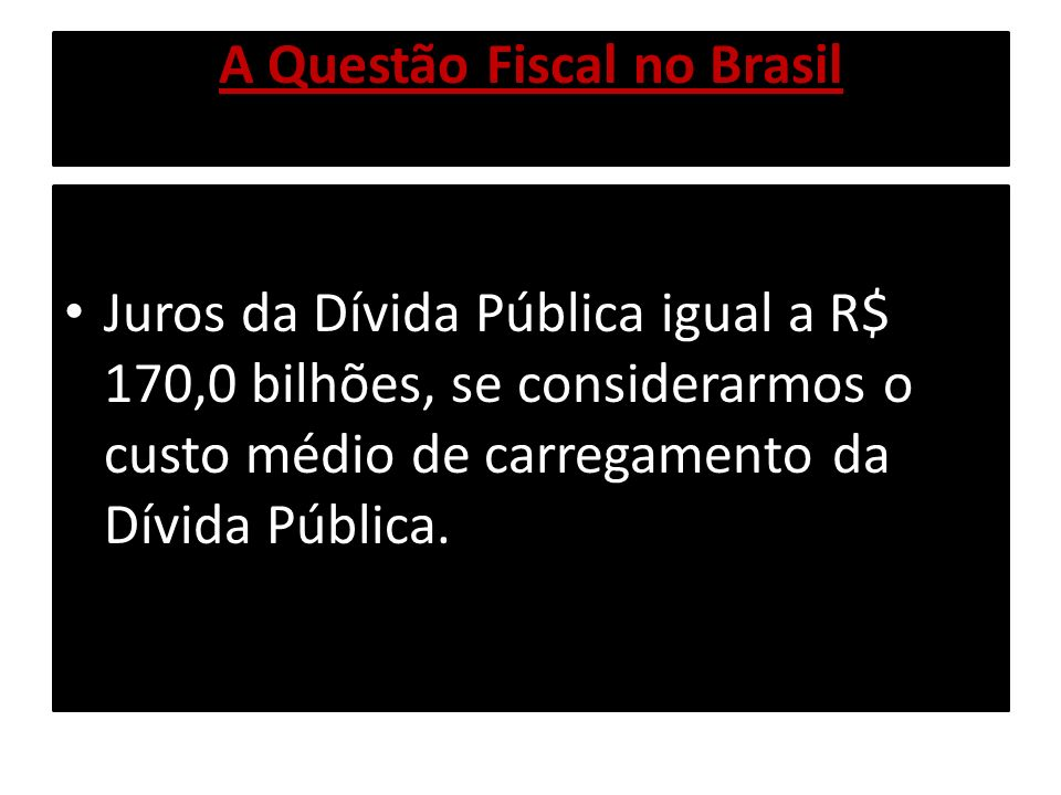 A Questão Fiscal no Brasil O Déficit Fiscal Nominal em 2008 deverá alcançar aproximadamente R$ 80,0 bilhões, resultado da diferença dos R$ 170,0 bilhões (Juros da Dívida Pública) e dos R$ 90,0 bilhões(Superávit Fiscal Primário).