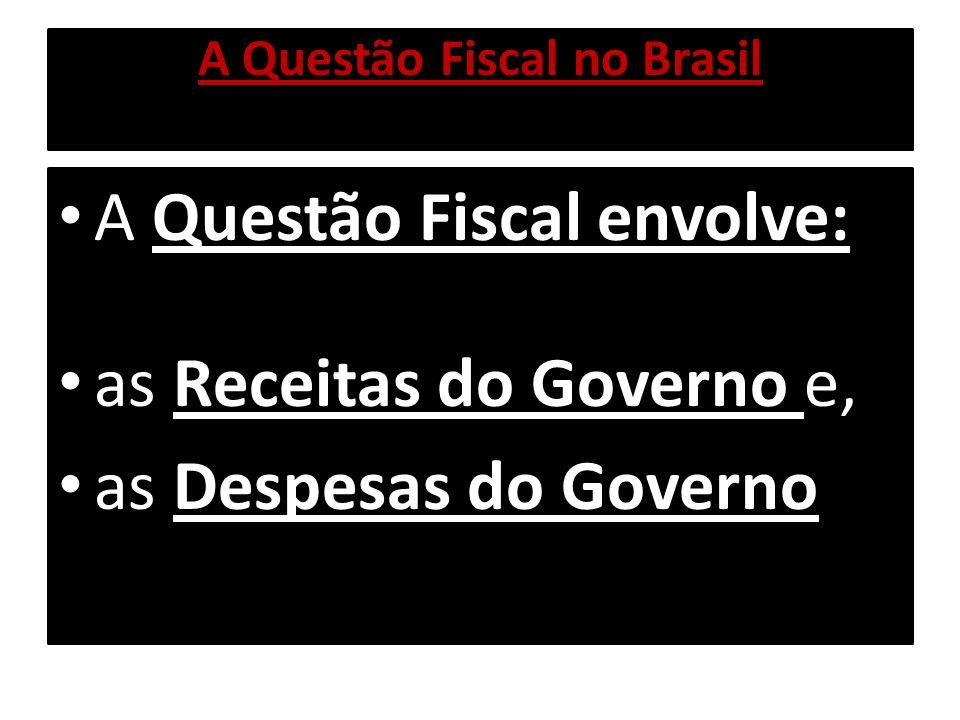 A Questão Fiscal no Brasil A Questão Fiscal envolve: as Receitas do Governo e, as Despesas do Governo