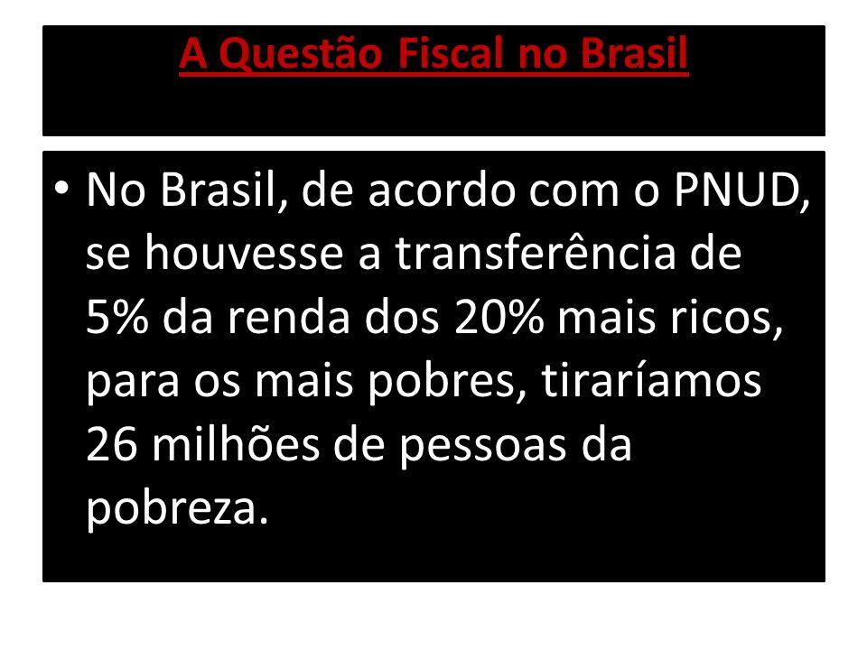 A Questão Fiscal no Brasil No Brasil, de acordo com o PNUD, se houvesse a transferência de 5% da renda dos 20% mais ricos, para os mais pobres, tirarí