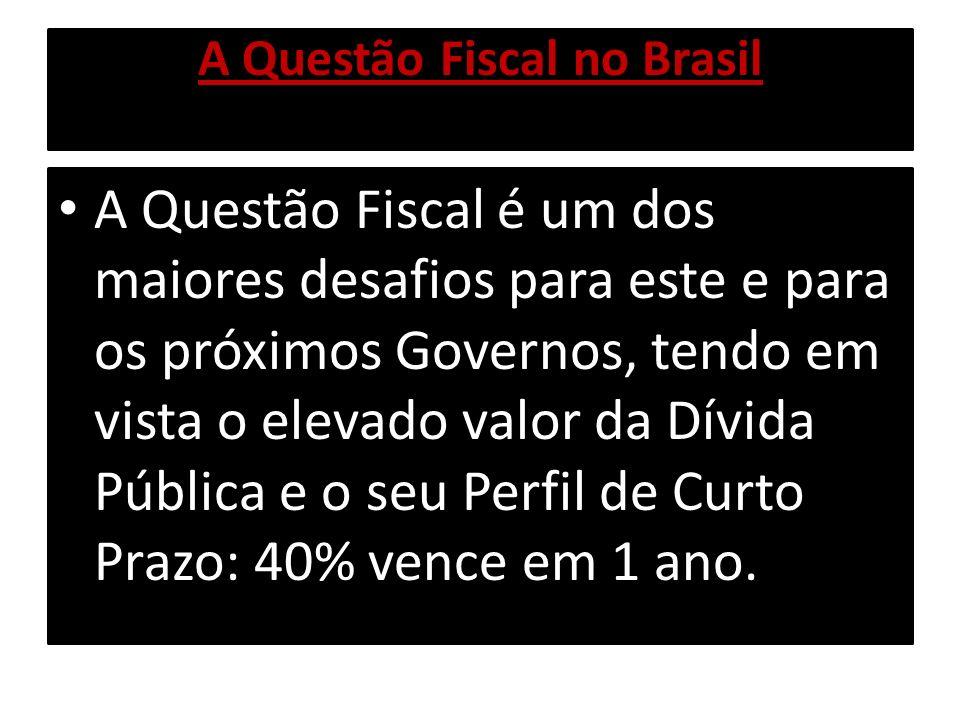A Questão Fiscal no Brasil A Questão Fiscal é um dos maiores desafios para este e para os próximos Governos, tendo em vista o elevado valor da Dívida