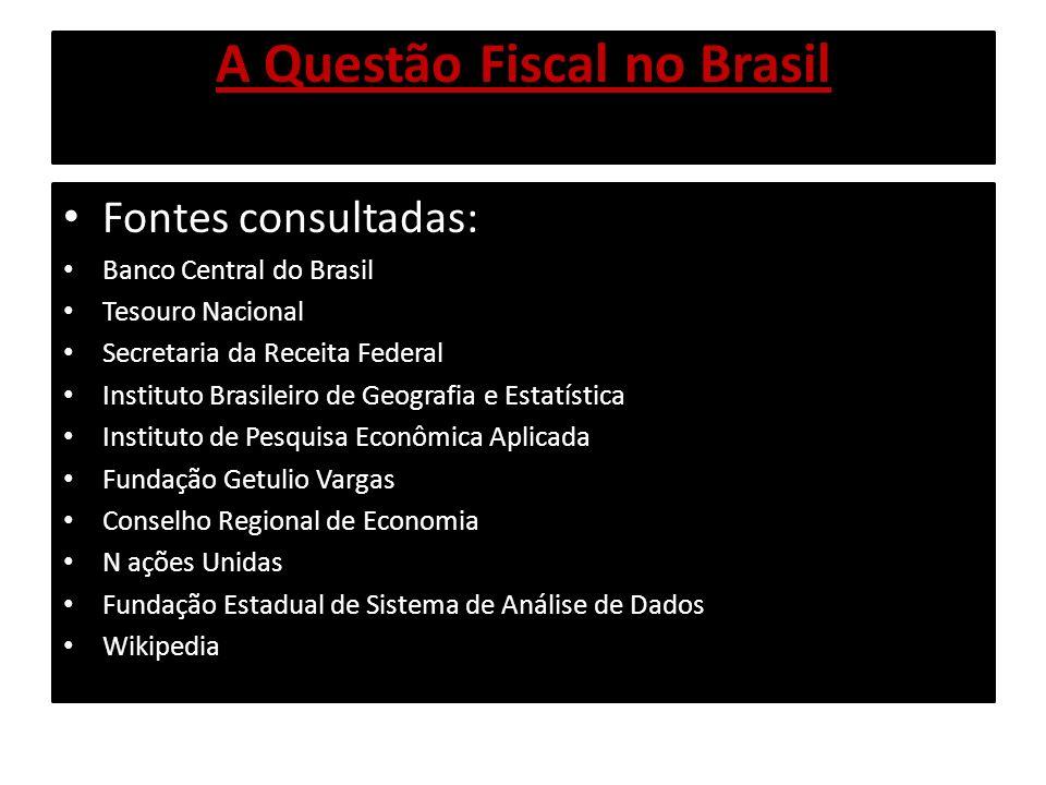 A Questão Fiscal no Brasil Fontes consultadas: Banco Central do Brasil Tesouro Nacional Secretaria da Receita Federal Instituto Brasileiro de Geografi