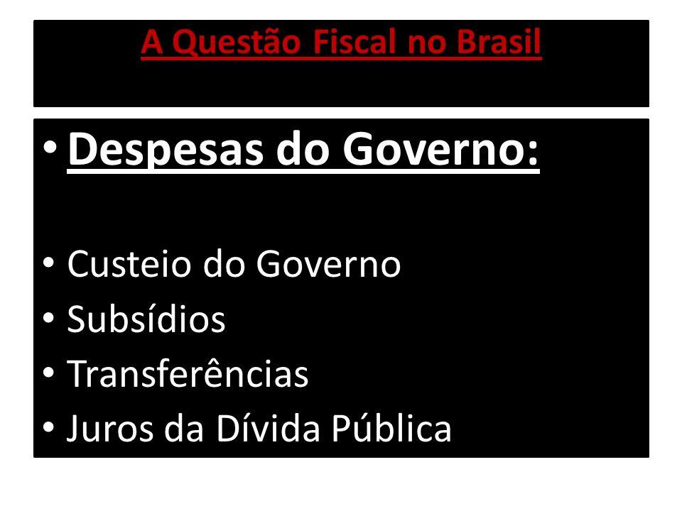 A Questão Fiscal no Brasil Despesas do Governo: Custeio do Governo Subsídios Transferências Juros da Dívida Pública