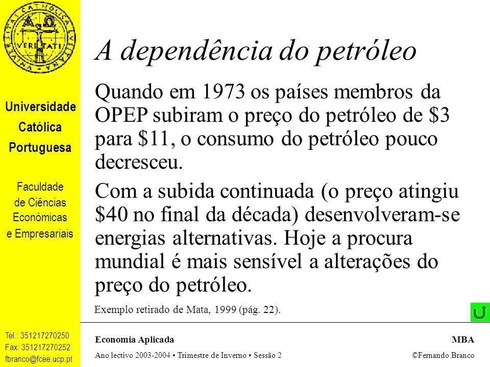 Universidade Católica Portuguesa Faculdade de Ciências Económicas e Empresariais Tel.: 351217270250 Fax: 351217270252 fbranco@fcee.ucp.pt Economia AplicadaMBA Ano lectivo 2003-2004 Trimestre de Inverno Sessão 2 ©Fernando Branco A dependência do petróleo Quando em 1973 os países membros da OPEP subiram o preço do petróleo de $3 para $11, o consumo do petróleo pouco decresceu.