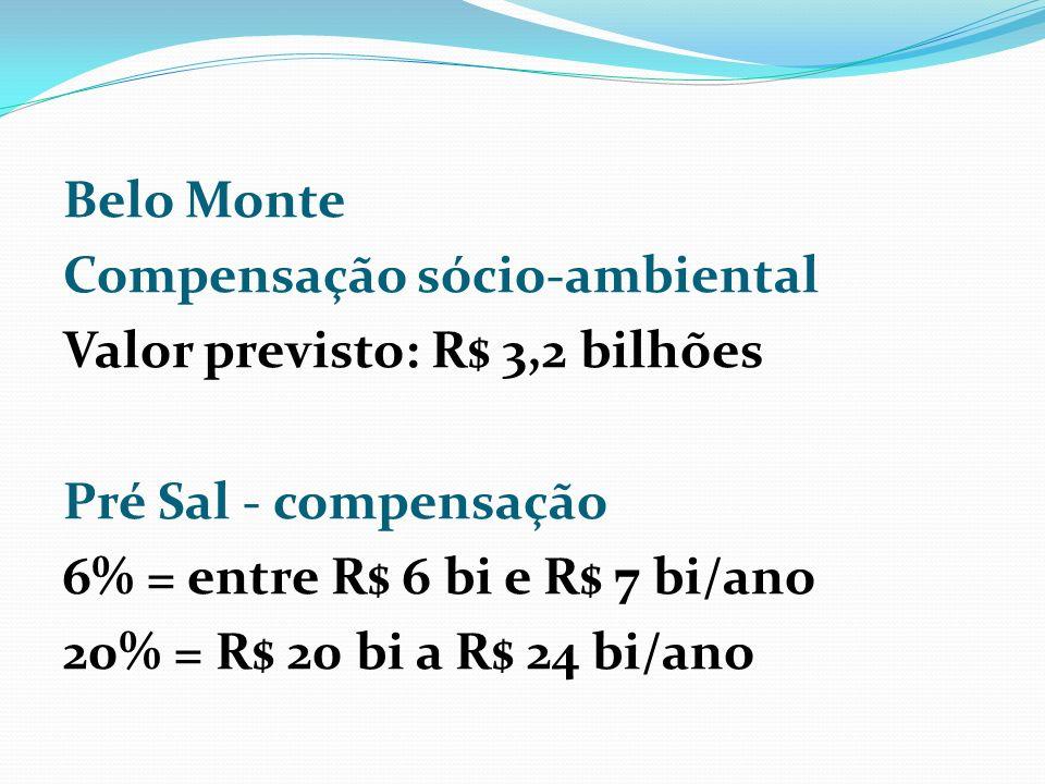 Belo Monte Compensação sócio-ambiental Valor previsto: R$ 3,2 bilhões Pré Sal - compensação 6% = entre R$ 6 bi e R$ 7 bi/ano 20% = R$ 20 bi a R$ 24 bi/ano