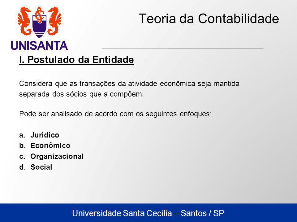 Universidade Santa Cecília – Santos / SP Teoria da Contabilidade I. Postulado da Entidade Considera que as transações da atividade econômica seja mant