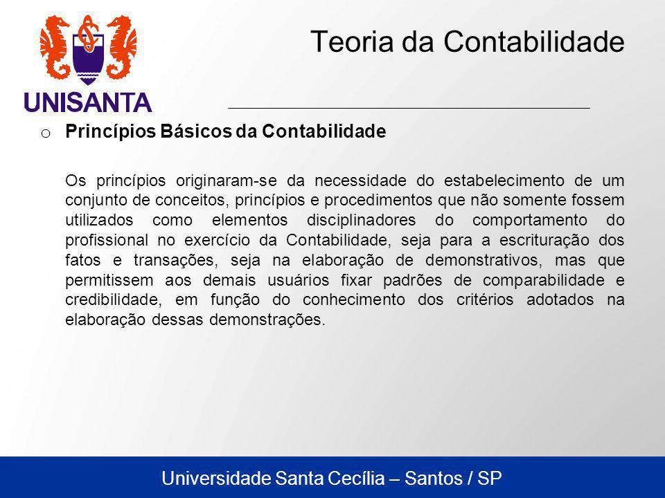 Universidade Santa Cecília – Santos / SP Teoria da Contabilidade o Princípios Básicos da Contabilidade Os princípios originaram-se da necessidade do e