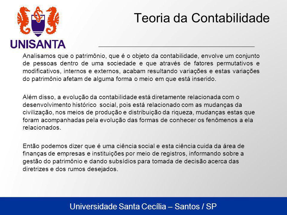 Universidade Santa Cecília – Santos / SP Teoria da Contabilidade Analisamos que o patrimônio, que é o objeto da contabilidade, envolve um conjunto de