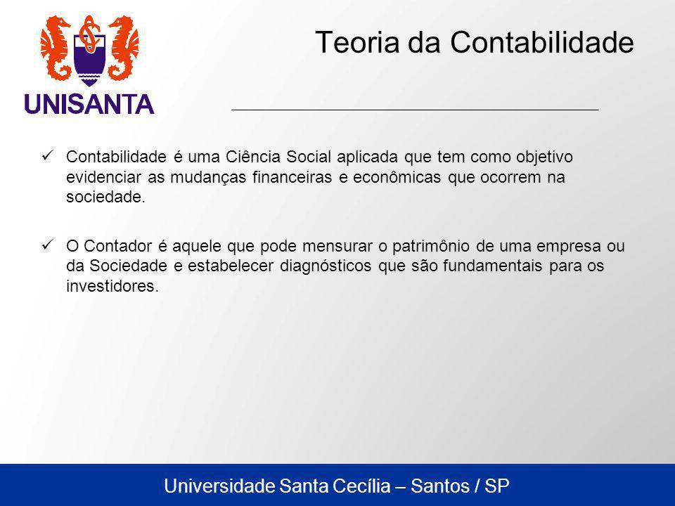 Universidade Santa Cecília – Santos / SP Teoria da Contabilidade Contabilidade é uma Ciência Social aplicada que tem como objetivo evidenciar as mudanças financeiras e econômicas que ocorrem na sociedade.