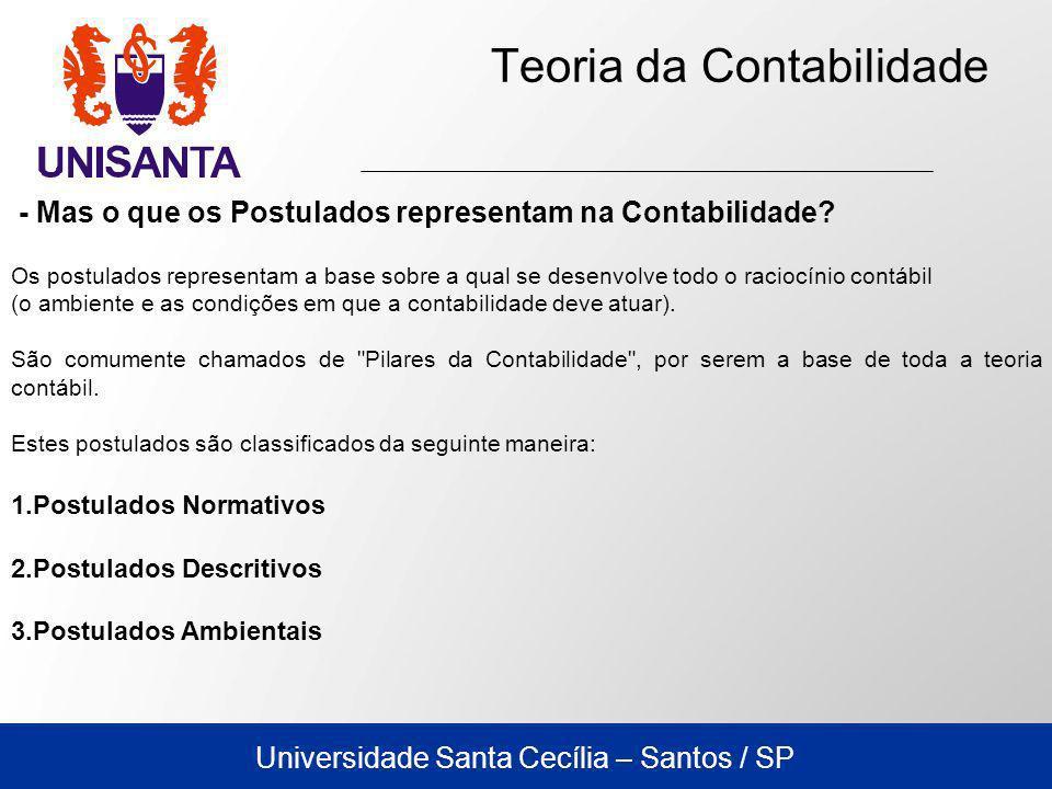 Universidade Santa Cecília – Santos / SP Teoria da Contabilidade o Convenções Contábeis As convenções são mais objetivas e têm a função de indicar a conduta adequada que deve ser observada no exercício profissional da contabilidade.