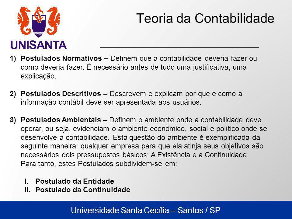 Universidade Santa Cecília – Santos / SP Teoria da Contabilidade 1)Postulados Normativos – Definem que a contabilidade deveria fazer ou como deveria f