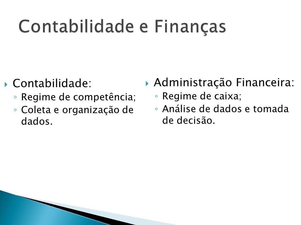 Contabilidade: Regime de competência; Coleta e organização de dados. Administração Financeira: Regime de caixa; Análise de dados e tomada de decisão.