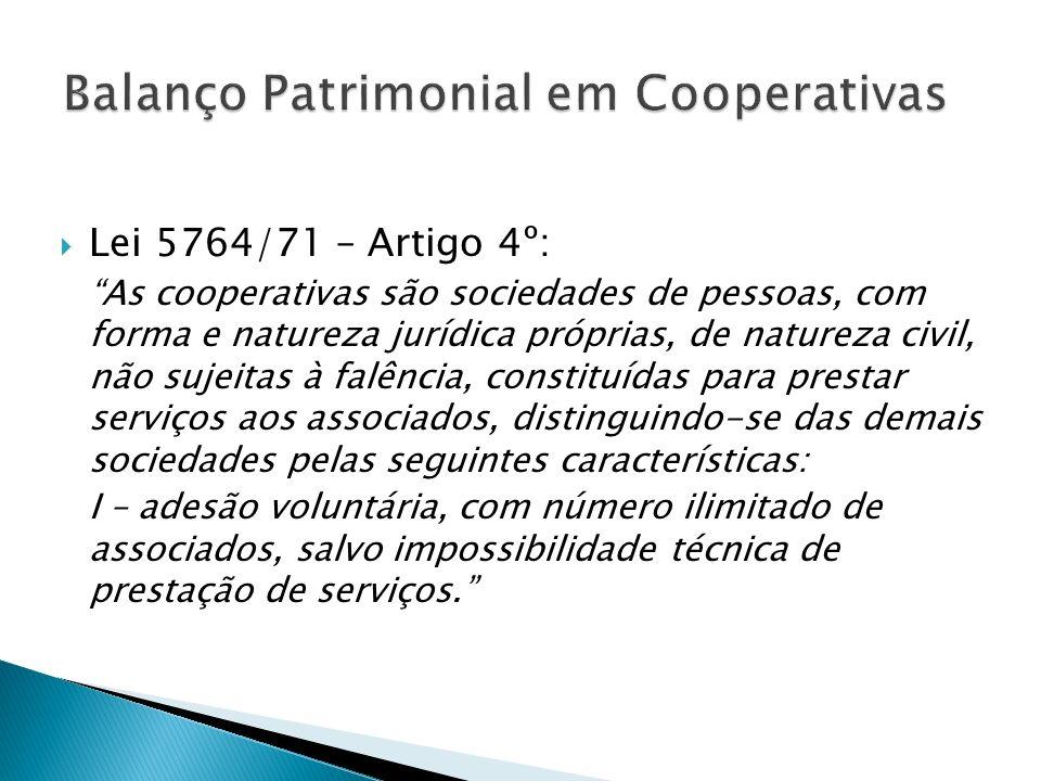 Lei 5764/71 – Artigo 4º: As cooperativas são sociedades de pessoas, com forma e natureza jurídica próprias, de natureza civil, não sujeitas à falência