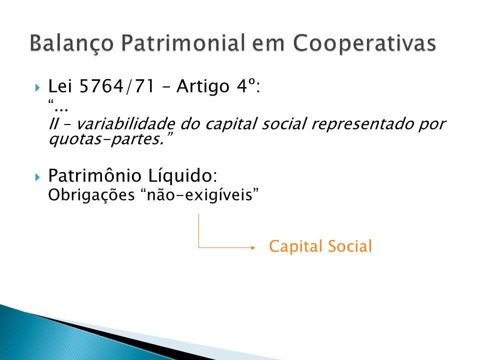 Lei 5764/71 – Artigo 4º:... II – variabilidade do capital social representado por quotas-partes. Patrimônio Líquido: Obrigações não-exigíveis Capital