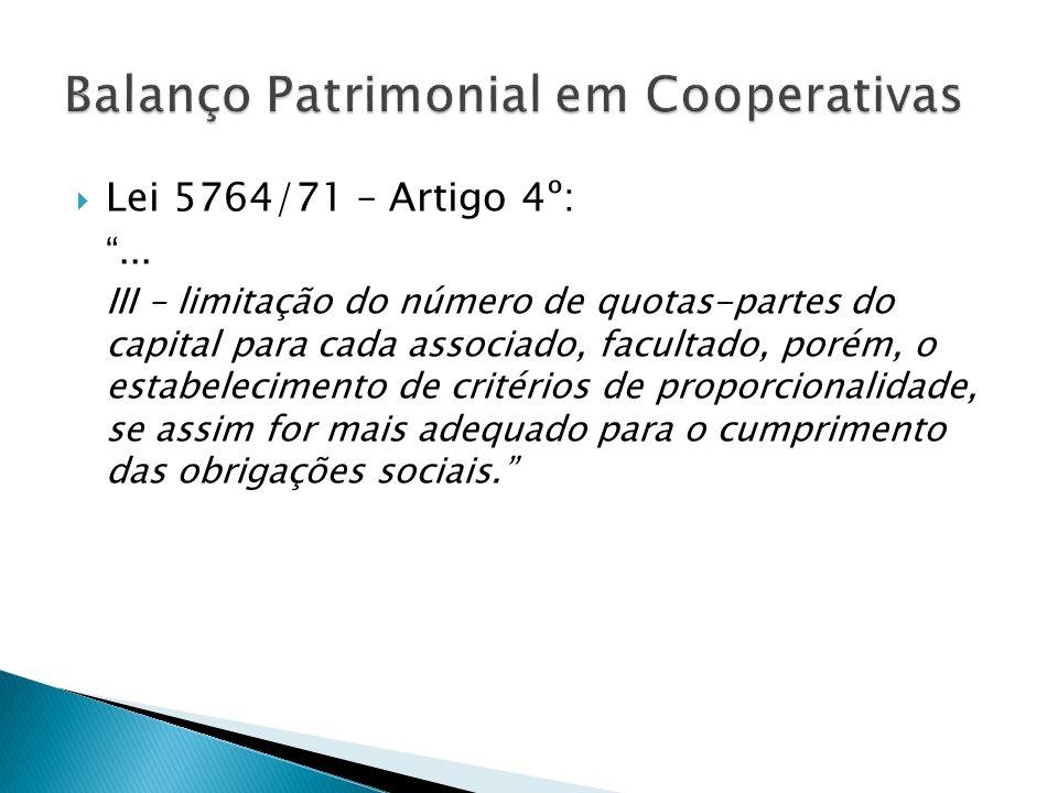 Lei 5764/71 – Artigo 4º:... III – limitação do número de quotas-partes do capital para cada associado, facultado, porém, o estabelecimento de critério
