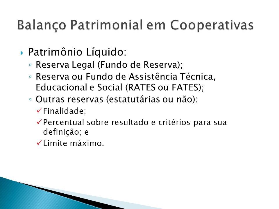 Patrimônio Líquido: Reserva Legal (Fundo de Reserva); Reserva ou Fundo de Assistência Técnica, Educacional e Social (RATES ou FATES); Outras reservas